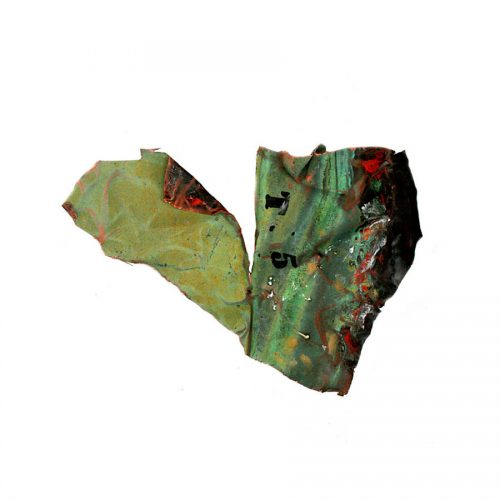 Fragment no T - 05 , ( coeur ouvert ) cuivre recyclé | crayon , huile cire | 2015