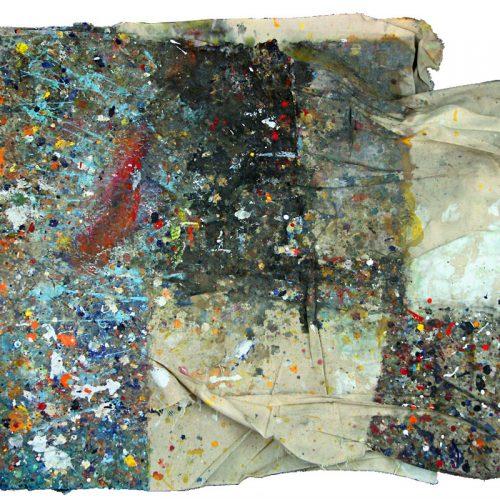 Tarmac d 'atelier no M-926 | huile, acrylique, pastel, collage sur toile | 2009