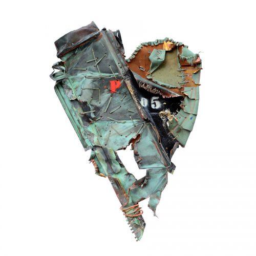 Ferrailleur no P-05 | cuivre recyclé, intégration de peinture industrielle, acrylique, huile, pigment crayon, aérosol / mixte media on copper | 2017