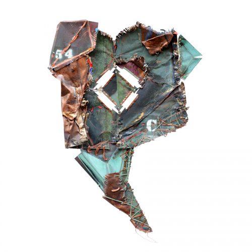Inflorescence no C-54 - 2017 | cuivre recyclé, intégration de peinture industrielle, acrylique, huile, pigment crayon, aérosol / mixte media on copper | 2017