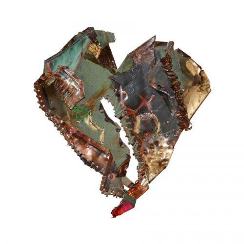 Coeur lassé no - W . 8374 | cuivre recyclé, intégration de peinture industrielle, acrylique, huile, pigment crayon, aérosol / mixte media on copper | 2017