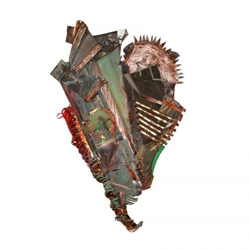 Le coeur du forgeron no-349 | cuivre recyclé, intégration de peinture industrielle, acrylique, huile, pigment crayon, aérosol / mixte media on copper | 2017