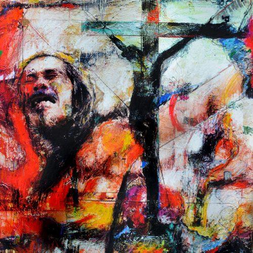 Vendredi - Saint | 30 x 40 in. / 76 x 102 cm | Technique : Acrylique , huile , crayon pastel , crayon graphite sur toile | 2017
