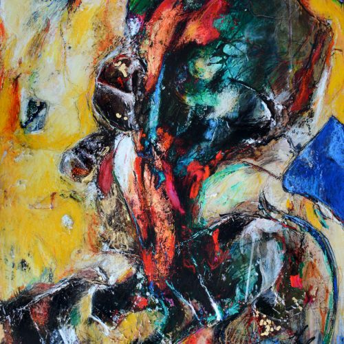 Corps - dissolution | 30 x 40 in. / 76 x 102 cm | Technique : Acrylique , huile , crayon pastel , crayon graphite sur toile | 2017