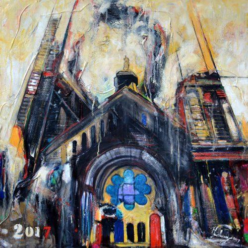 Église St - Rock - Québec | 30 x 30 in. / 76 x 76 cm | Technique : Acrylique , huile , crayon pastel , crayon graphite sur toile | 2017