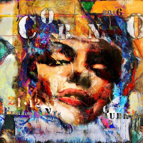 Hommage à CORNO La flamboyante | 30 x 30 in. / 76 x 76 cm | Technique : Acrylique , huile , crayon pastel , crayon graphite sur toile | 2016