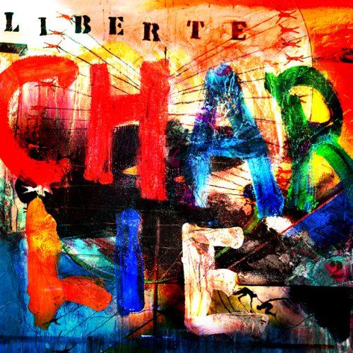 Ha La Paix - Liberté d 'expression | 40 x 30 in. / 102 x 76 cm | Technique : Acrylique , huile , crayon pastel , crayon graphite sur toile | 2015