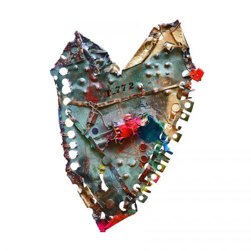 Coeur NO T – 772 | 39 x 65 cm / 19 x 34 in. | cuivre recyclé, intégration de peinture industrielle, acrylique, huile, pigment crayon, aérosol / mixte media on copper | 2016