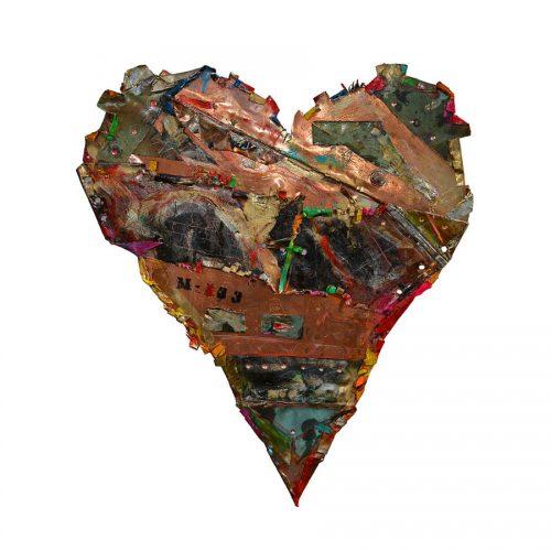 Coeur No M- 133 | 39 x 65 cm / 19 x 34 in. | cuivre recyclé, intégration de peinture industrielle, acrylique, huile, pigment crayon, aérosol / mixte media on copper | 2016