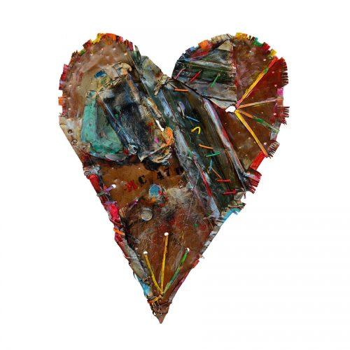 Coeur No MC- 47 | 39 x 65 cm / 19 x 34 in. | cuivre recyclé, intégration de peinture industrielle, acrylique, huile, pigment crayon, aérosol / mixte media on copper | 2016