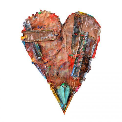 Coeur no P - 59-7 | 45,54 x 76,65 cm / 22 x 38 in. | cuivre recyclé, intégration de peinture industrielle, acrylique, huile, pigment crayon, aérosol / mixte media on copper | 2016