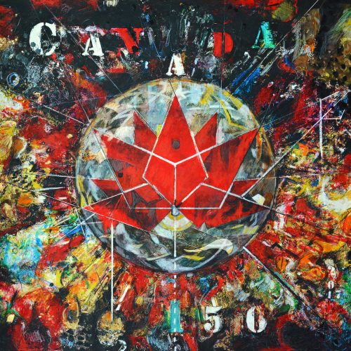Canada 150 | 30 x 30 in. / 76 x 76 cm | Technique : Acrylique , huile , crayon pastel , crayon graphite sur toile | 2017