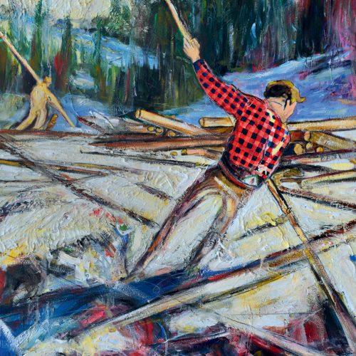 Menaud maître draveur | 40 x 60 in. / 102 x 152 cm | Technique : Acrylique , huile , crayon pastel , crayon graphite sur toile | 2017