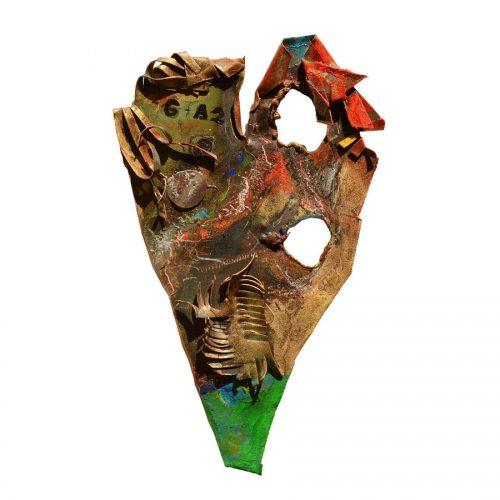Les yeux du coeur | 15 x 8 cm / 4 x 8 in. | Technique : cuivre recyclé , peinture industrielle et aérosol , huile , pastel oil , crayon gras | 2016