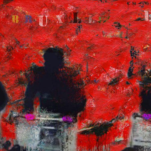 Je suis Bruxelles - C-M 56 | 30 x 40 in. / 76 x 102 cm | Technique : Acrylique , huile , crayon pastel , crayon graphite sur toile | 2016
