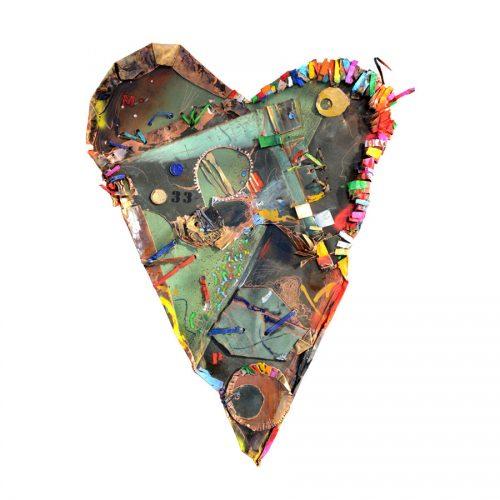 Coeur NO 33 | cuivre recyclé, intégration de peinture industrielle, acrylique, huile, pigment crayon, aérosol / mixte media on copper | 2015