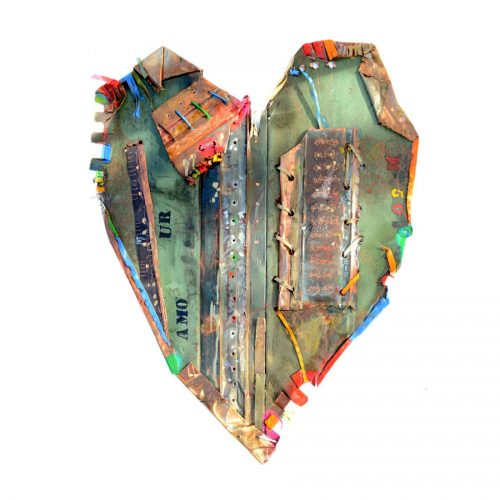 Amour M- 50 | cuivre recyclé, intégration de peinture industrielle, acrylique, huile, pigment crayon, aérosol / mixte media on copper | 2017