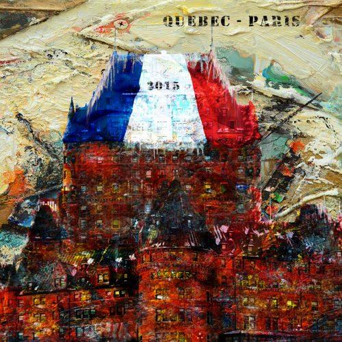 Québec - Paris même combat | 36 x 48 / 92 x 122 cm | Technique : Acrylique , huile , crayon pastel , crayon graphite sur toile | 2015